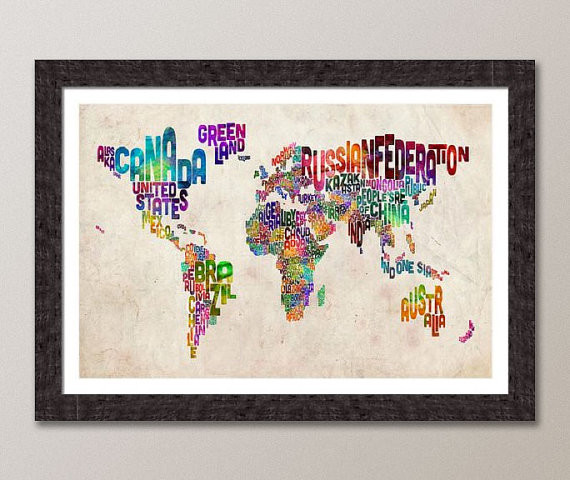 Typographic Text Map of the World Art Print by Art Pause modern artwork