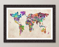 Typographic Text Map of the World Art Print by Art Pause modern-artwork