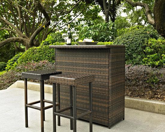 Crosley - Crosley Palm Harbor 3 Piece Outdoor Wicker Bar Set -