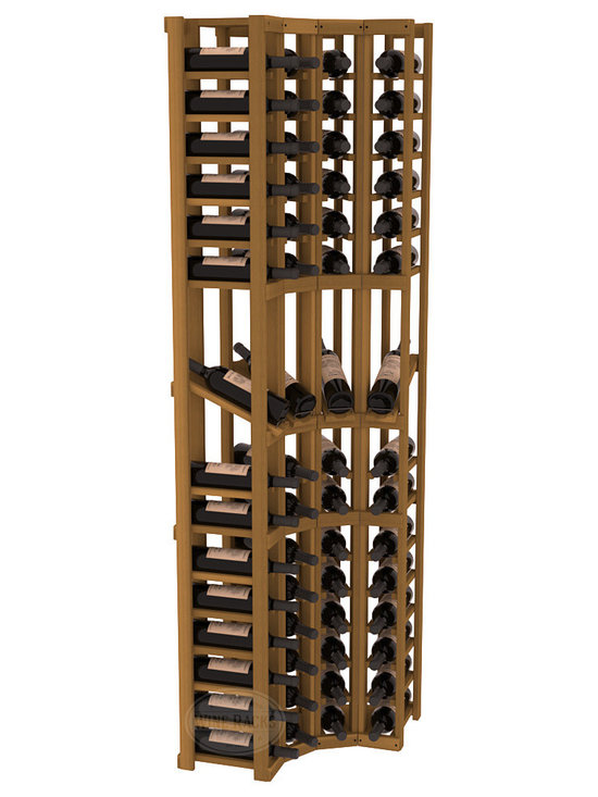 Wine Racks America® - 4 Column Display Cellar Corner in Redwood, Oak Stain - Unique corner wine racks obtain maximal storage capacity with style. Display 4 coveted vintages without sacrificing proper wine storage. We back the quality of every rack with our lifetime warranty. Designed with emphasis on functionality, these corner racks fit seamlessly into our modular line of wine racks.