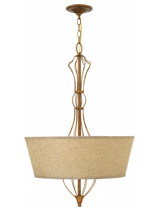 Hinkley Lighting - Celine Pendant - The Celine Pendant is available with an Oatmeal Linen shade and a Gold Leaf finish. Four 60 watt 120 volt B10 type candelabra base bulbs are required, but not included. Canopy diameter is 5.5 inches. 22 inch width x 33 inch height x 153 inch maximum hanging length.