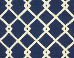 "Contemporary 7' 6"" x 9' 6"" Navy Hand Tufted Area Rug Trellis VS80 contemporary-rugs"