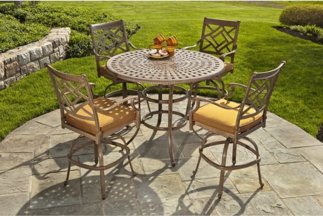 Alfresco Home Sarasota Cast Aluminum 48 in. Round Patio Dining Set - Seats 4 traditional dining tables