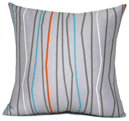 "Gray & Orange Stripe Throw Pillow Cover 16""x16"" contemporary-decorative-pillows"