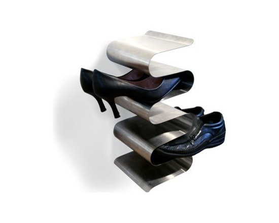 J-Me - Nest Wall Shoe Rack - If your closet's full and there's no room left for shoes, what to do? You could hang something on your door or stuff shoes under the bed ... but what about having a shoe rack that's attractive enough to display anywhere? This rack fits the bill, helping you make the most of your space while staying classy. With its stainless steel sheen and elegant curves, it would even work in your entry for your guests!
