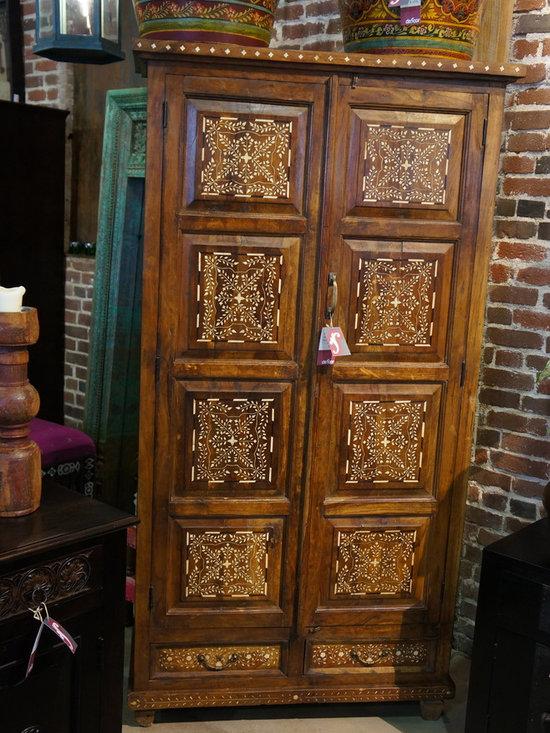 Vintage teak bone inlaid Armoire / Cabinet. -
