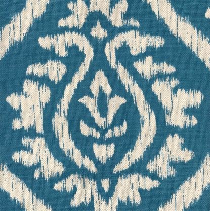 Ikat Damask in Cyan (Patterned Pattern, brand fabric) | from Company C  fabric