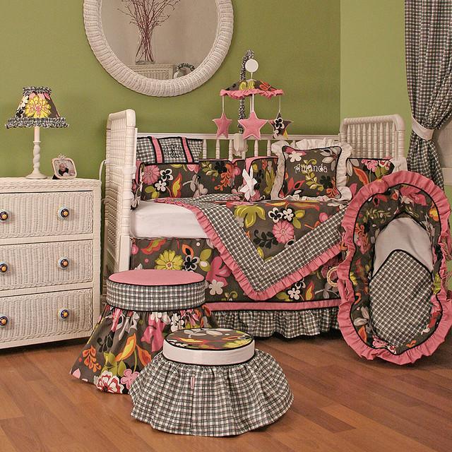 Sleek Slate Crib Bedding modern-cribs