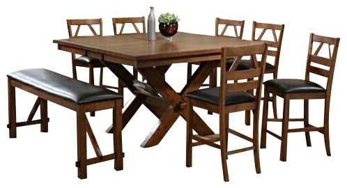 Counter Height Picnic Table : Piece Walnut Finish Picnic Style Counter Height Dining Table Set ...