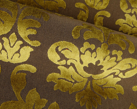 Delicia Damask Upholstery in Lime & Brown - Delicia Damask Upholstery in Lime Green & Brown. A Belgian cut pile velvet with an Epingle background. A classic pattern in contemporary color combinations. A great coordinate with our Delicia Stripe!