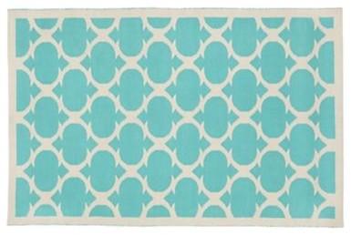 Kids Aqua Woven Cotton Rug contemporary-kids-rugs