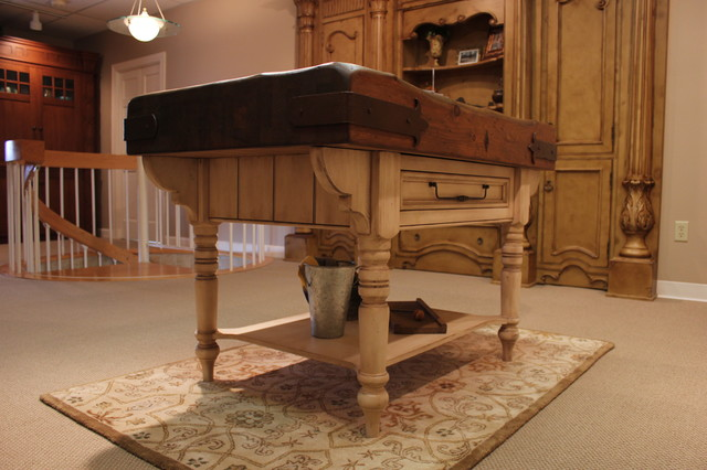 English Country Butcher Block Table traditional
