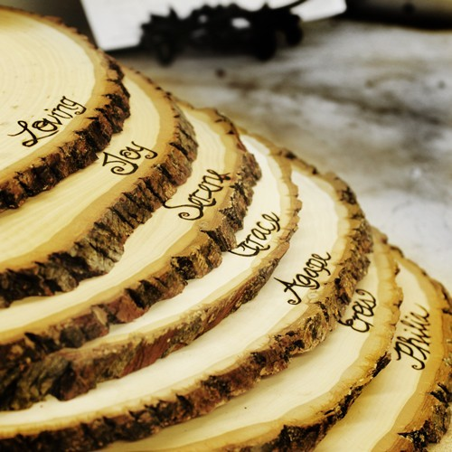 Large rustic wood tree slice centerpieces by roxy heart