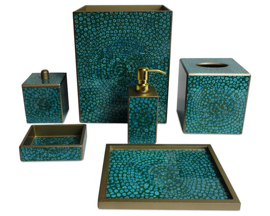 Bathroom Accessories - Turn your bathroom into a luxuriously chic retreat with this stunning bath set by Waylande Gregory. Featuring pieces that beautifully showcase a vibrant turquoise mosaic motif, these items will set the tone and demand attention.