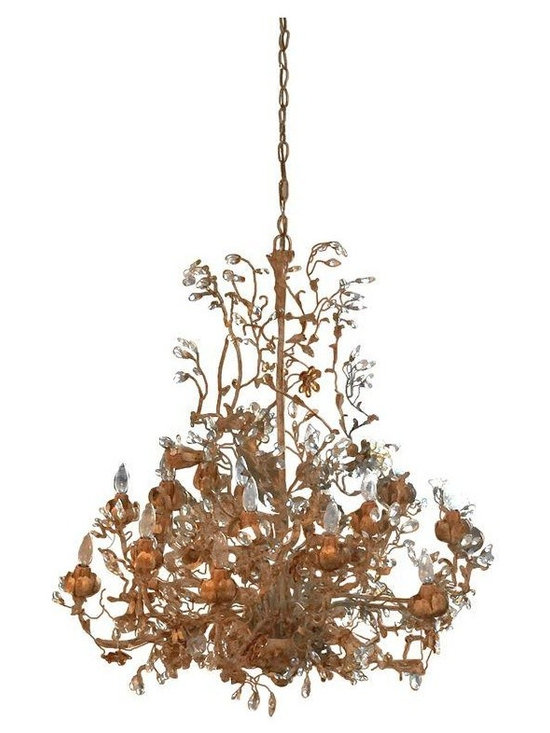 Pre-owned Jen Abrams Chandelier ABC Carpet & Home - An amazing foyer chandelier from ABC Carpet & Home in NYC... painted white iron and brushed gold with amber crystals and clear crystal flower detail.