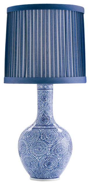 Batik Blue & White Porcelain Lamp asian-table-lamps