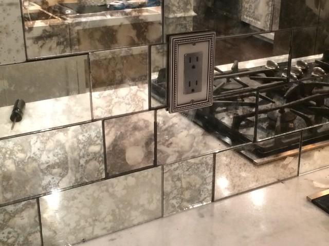 Antique Mirror Tile Backsplash Transitional