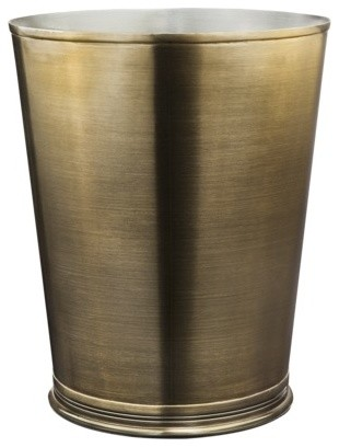 Threshold bathroom wastebasket brass gold traditional for Waste baskets for bathroom