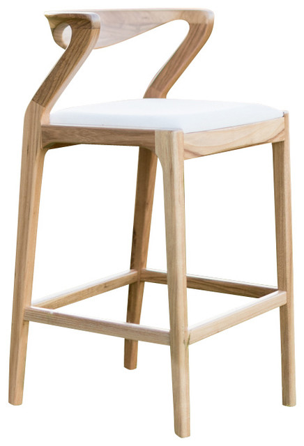 Duda Stool Natural Wood With Brown Leather Transitional