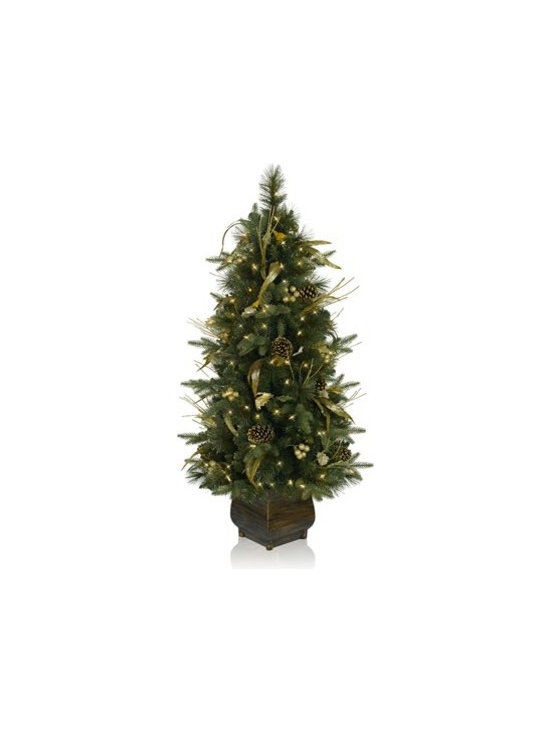Balsam HIll Coloma Golden Pine Artificial Christmas Tree - A GLITTERING CHRISTMAS WITH BALSAM HILL'S COLOMA GOLDEN PINE POTTED TREE |