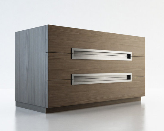 Monroe Contemporary & Modern Dressers by ModLoft - The Monroe three-drawer dresser with stainless groove handles matches any modern bedroom decor. European soft-closing glides enable effortless drawer movement. Interior of drawers elegantly lined in light beige linenboard. Available in wenge or walnut wood finishes. No assembly required. Imported.