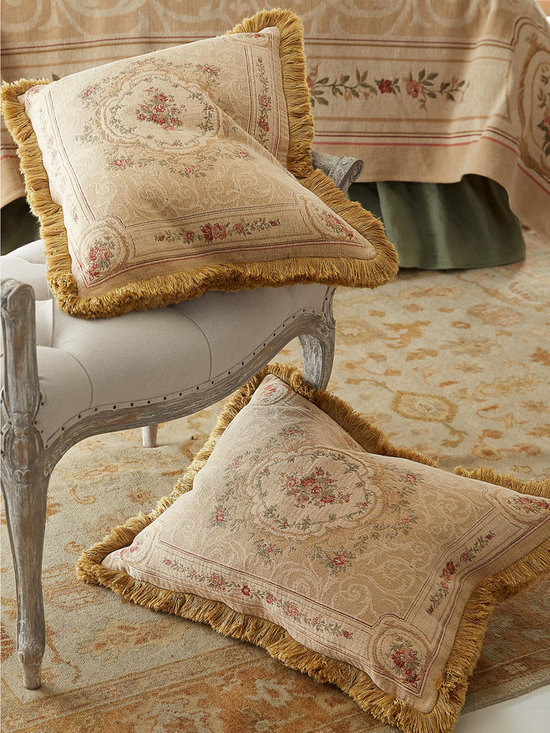 Aubusson Bed Sham - This luxurious bedding is woven of the finest chenille, and influenced by the traditional French Aubusson tapestries of the 17th and 18th centuries. Interlocking cotton threads of camel, gold, rose and sage give this set the richness of European art. The back of the coverlet (sold separately) is the beautiful inverse of the design on the top and the shams are reversible with hidden zippers. Brush fringe frames the standard sham and gold cord encircles the Euro sham (sold separately).