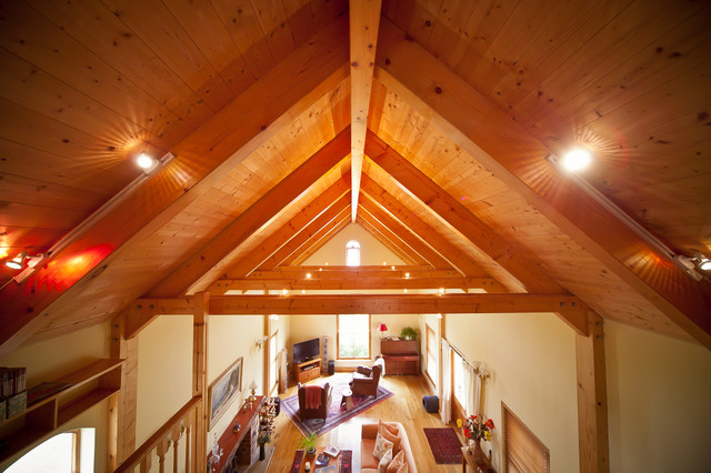 Spruce roof with exposed trusses contemporary other for Exposed trusses cost