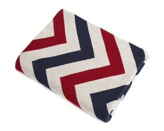 Belle & June - Red/Navy/Ivory Chevron Cotton Blanket - Make a bold statement while keeping cozy with a brightly colored chevron blanket. The comfort of cotton can't be beat as you snuggle down for a warm night in. Pull up a good book, or fire of the Netflix queue, it's gonna be a good night.