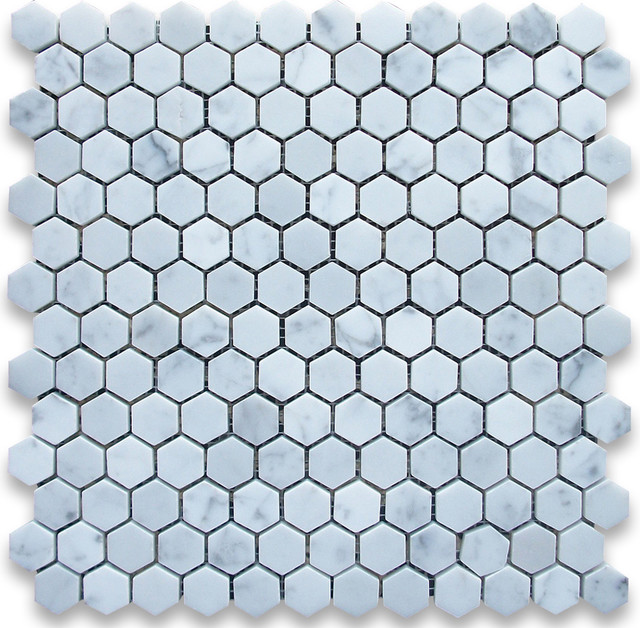 Carrara White 1 inch Hexagon Mosaic Tile Polished - Marble from Italy mosaic-tile