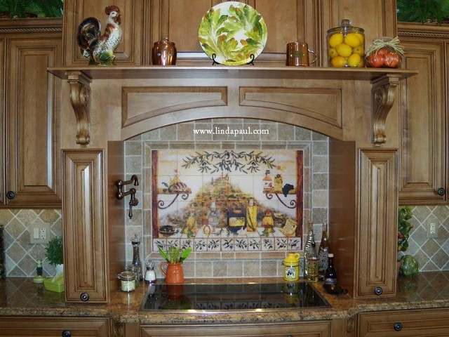 Italian Kitchen Tile Backsplash Mural by Linda Paul mediterranean kitchen tile