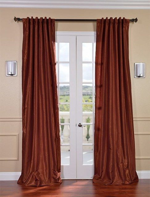 Burnt Orange Vintage Textured Faux Dupioni Silk Curtain Contemporary Curtains San