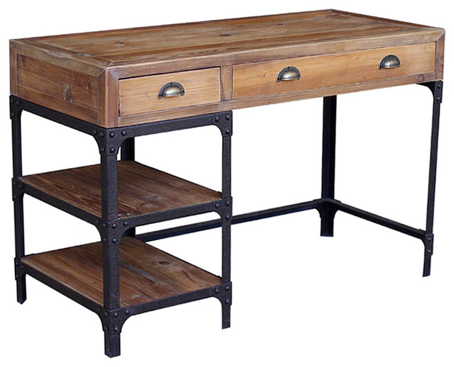 Luca Reclaimed Wood Rustic Iron Industrial Loft Desk - Transitional - Desks And Hutches - by ...