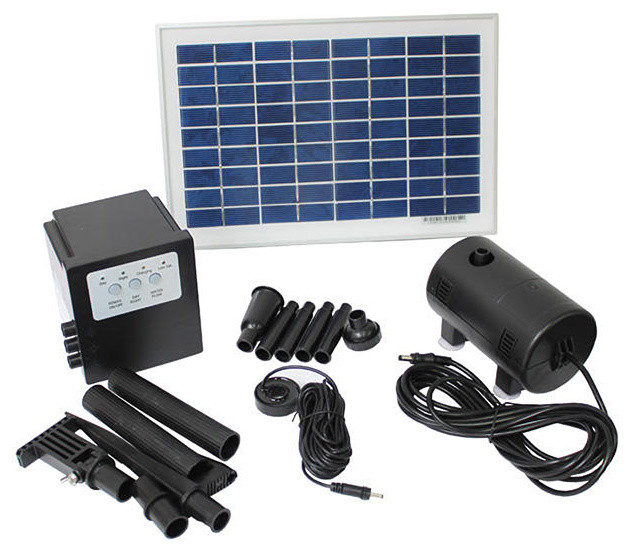 Solar Powered 8-watt 18-volt Water Pump with Battery and Timer - Contemporary - Outdoor ...