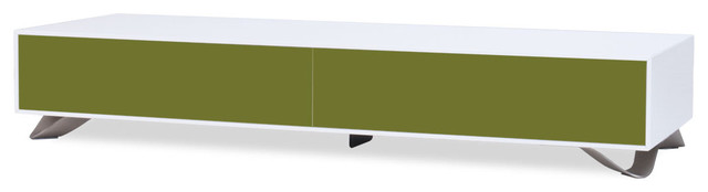 Boomerang White-Olive Green Special Edition Lowboard Small contemporary-storage-cabinets