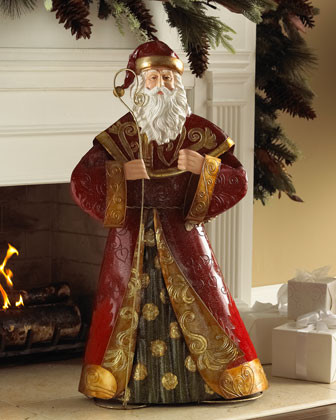 Burgundy & Gold Metal Santa traditional-holiday-decorations