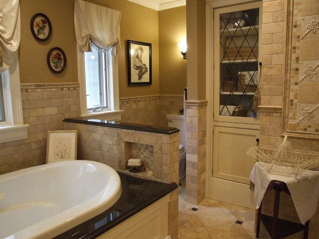Master Bathroom using 7 different types of tile. traditional-bathroom