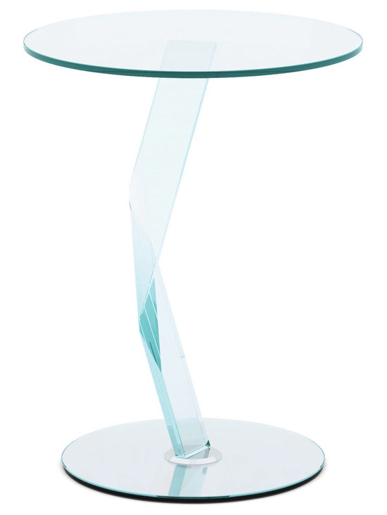 Modern Glass Side Table - Bakkarat - The crystal lightening invades the table, becoming its bearing structure. The fragment is cut, beveled, and bonded with meticulous precision, thereby becoming a kaleidoscope of refractions.