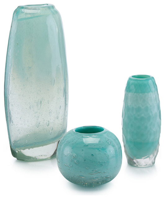 John Richard Set Of 3 Floating Aqua Glass Vases - Traditional ...