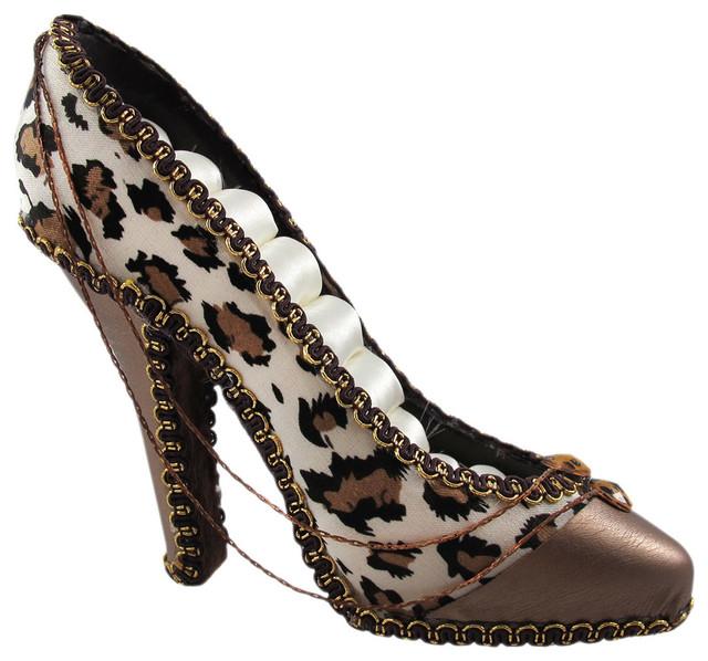 snow leopard print high heel shoe ring holder jewelry