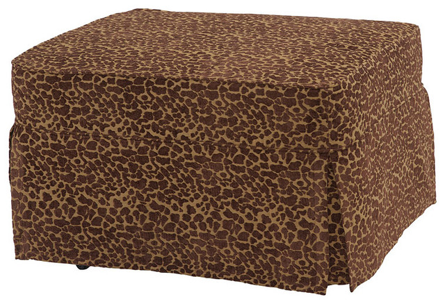 Slip Cover For Castro Convertbile Sleeper Ottoman Leopard Twin Traditional Footstools And