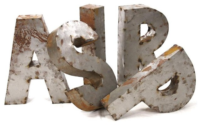 Zentique Rustique Metal 3D Letters - Traditional - Home Decor - by Candelabra