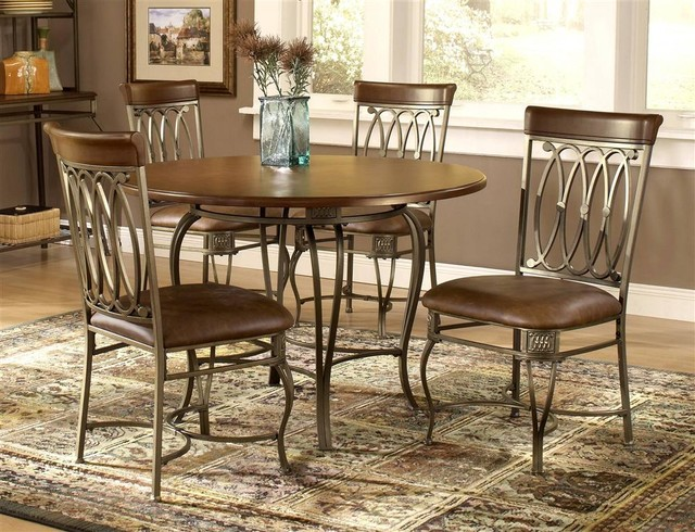 Traditional Wood Metal Round Dining Table W Contemporary Dining Set