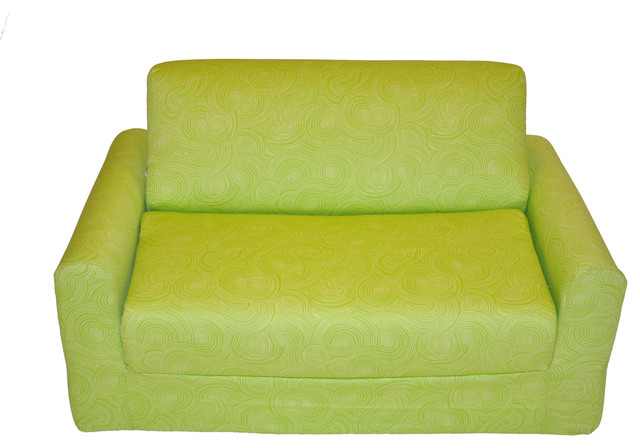 Fun Furnishings Let It Grow Sofa Sleeper Organic with Pillows in Green traditional-sofas