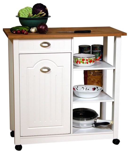mobile island bin in white transitional kitchen islands and kitchen