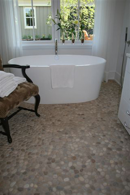 Island stone pebble bathroom floor modern tile other metro by island stone Stone flooring for bathrooms