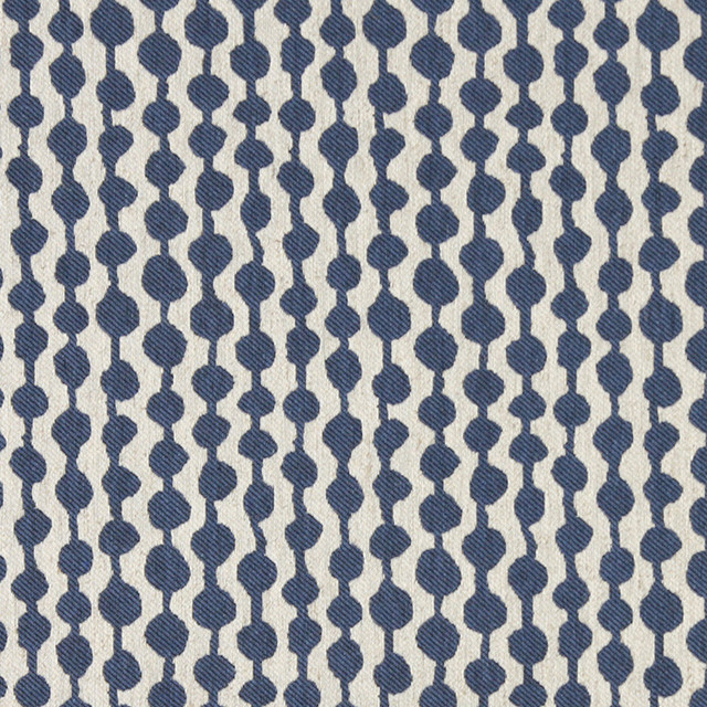 Blue And Off White Circle Striped Linen Look Upholstery