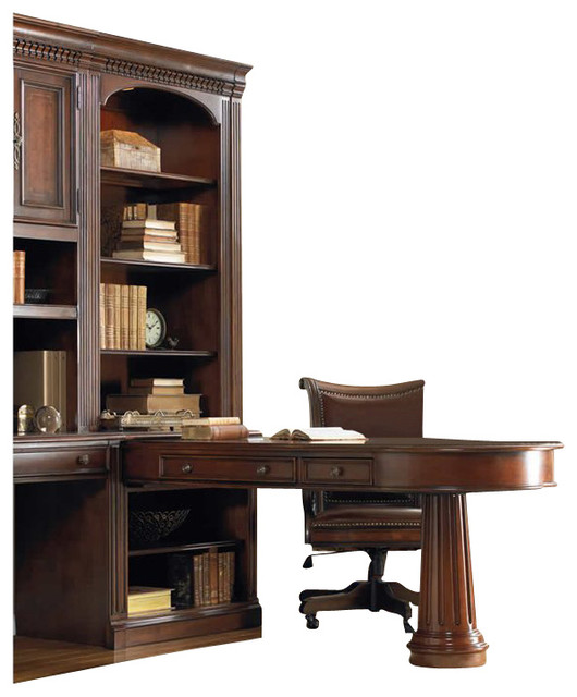European Renaissance II Peninsula Desk and Hutch, Cherry - Transitional - Desks And Hutches - by ...