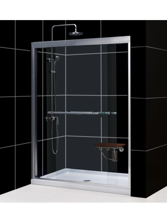 "DreamLine Duet 56"" - 60"" Bypass Sliding Shower Door SHDR-1260728 - With its anodized aluminum profiles and impressive guide rails, 5/16"" clear glass and convenient towel bar handles the Duet bypass shower door is the right answer for your shower project. Both doors, with integrated convenient handles, slide effortlessly on the perfectly engineered guide rails allowing for convenient shower entry on either side of the shower. The smart design of this bypass shower door also allows for out-of-plumb adjustment of up to ½"" on each side of the door. The top and bottom guide rails of the Duet bypass door may be shortened by cutting up to 4"" to fit required installation space."