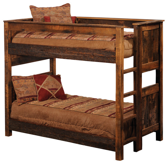 Rustic reclaimed wood bunk beds barnwood full over full for Wooden bunkbeds