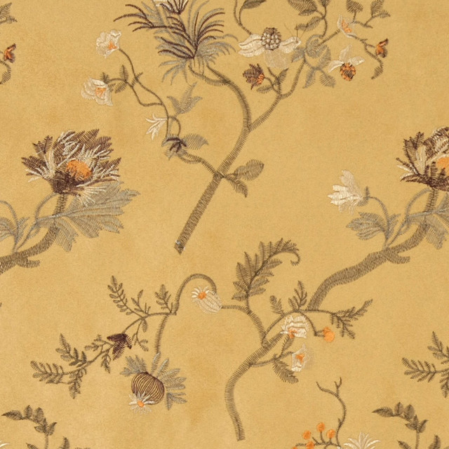 Gold green ivory brown embroidered floral suede upholstery